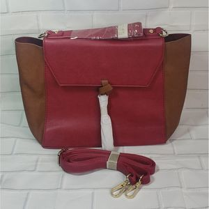 NWT  Pink Haley Color Block Satchel Bag in Red and